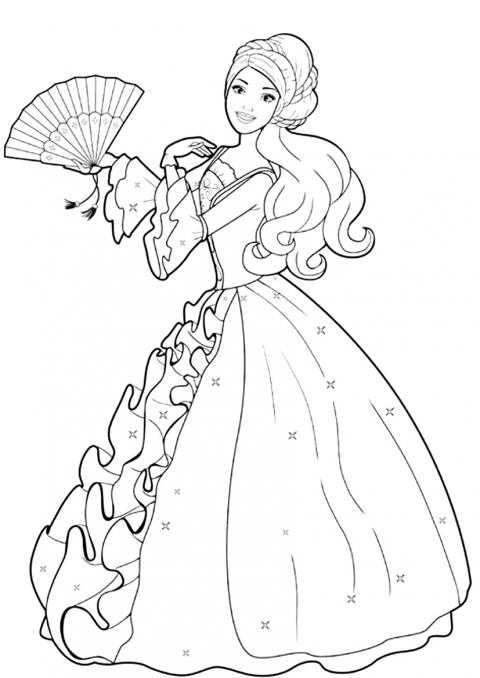 Barbie Printesa Cu Evantai Desene De Colorat