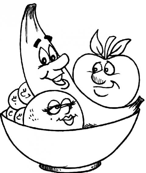 Plansa De Colorat Pentru Copii Fructe In Bol Desene De Colorat