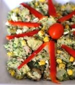Salata de ton cu cartofi si pesto din rucola