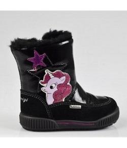 Ghetute negre cu unicorn roz