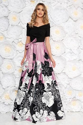 Rochie cu flori, cu partea de sus uni