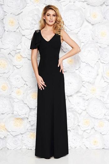 Rochie neagra lunga, fara maneci