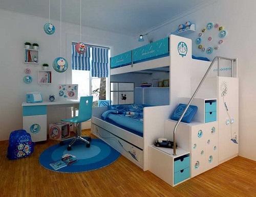 Dormitor in alb si albastru pentru baietei