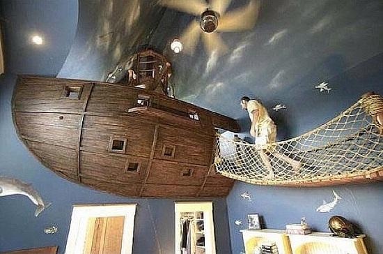 Dormitor pentru baieti cu pat-barca