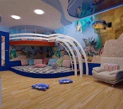 Dormitor cu lumea subacvatica