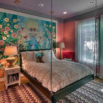Dormitor cu pat-leagan