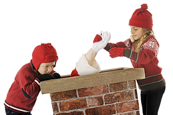 Santa Claus stucked in the chimney