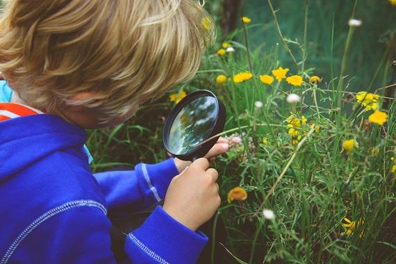 Baietel ce examineaza florile