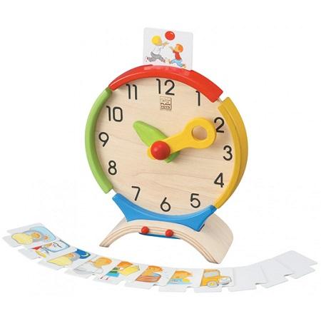Ceas de lemn, cu flash- carduri cu activitati zilnice