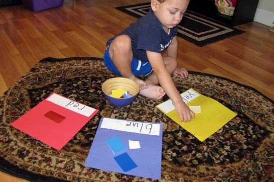 Activitate Montessori pentru invatarea culorilor si nuantelor