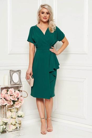 Rochie verde midi, cu peplum pe talie