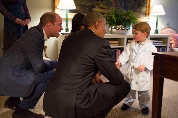 Printul William alaturi de fiul sau si de Presedintele SUA