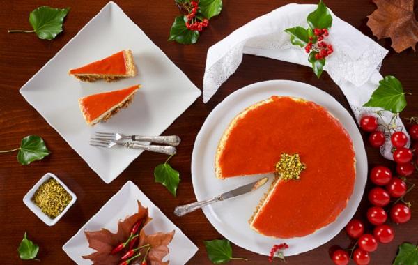 Cheesecake cu glazura portocalie