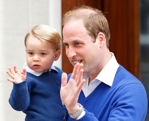 Printul George alaturi de tatal sau, Printul William