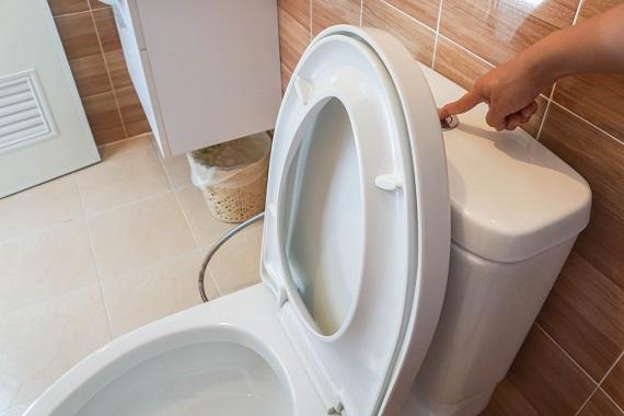 Apasare pe butonul destinat tragerii apei la toaleta