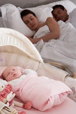 Bebelus ce doarme in aceeasi camera cu parintii