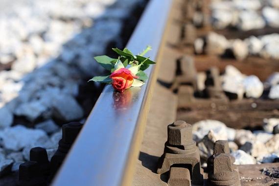 Trandafir asezat pe sina de tren