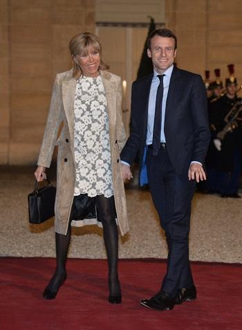 Brigitte Macron alaturi de sotul ei