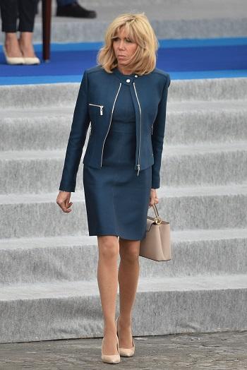 Brigitte Macron in timpul vizitei presedintelui Trump