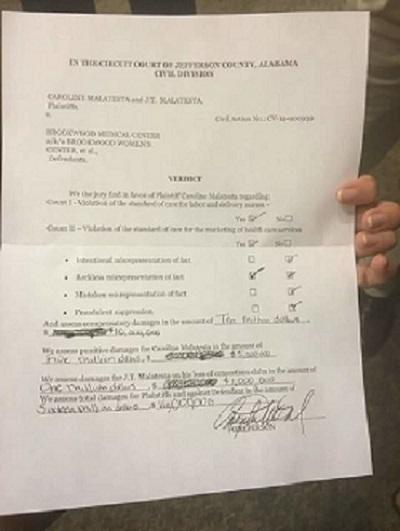 Verdictul de despagubire pentru Caroline Malatesta