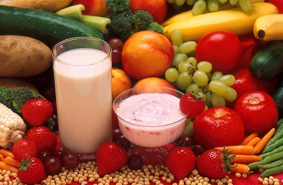 Fructe, legume, iaurt, lapte