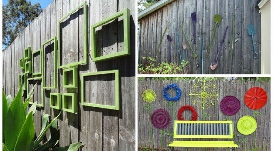 Gard decorat cu rame, greble,farfurii