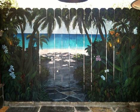 Gard pictat precum o insula tropicala