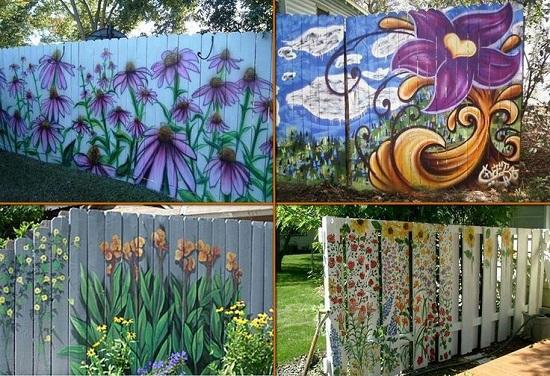 Garduri de gradina pictate cu modele florale