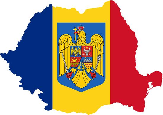 Conturul hartii Romaniei, cu tricolorul si cu stema