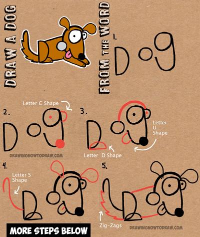 Cum sa desenezi un caine pornind de la cuvantul dog