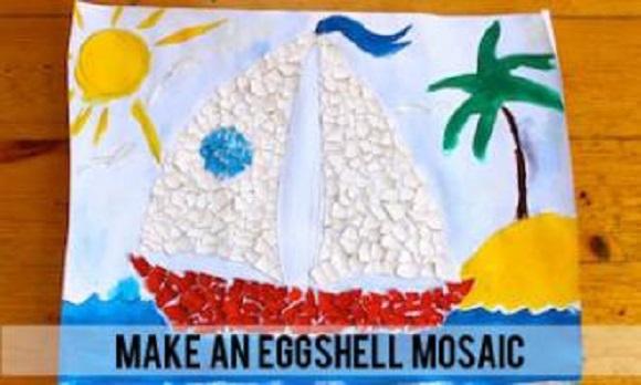Pictura cu mozaic din coji de oua