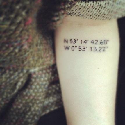 Tatuaj cu coordonate pe mana unei mamici