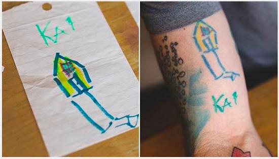 Tatuaj inspirat de o casuta desenata de catre copil