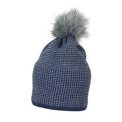 Caciula tricotata albastra cu ciucure de blana