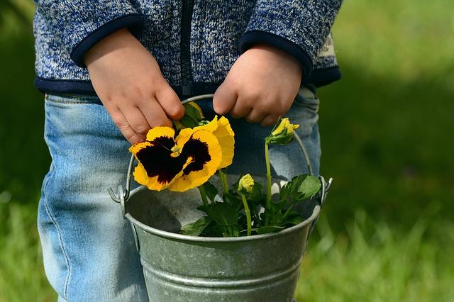 copil si flori