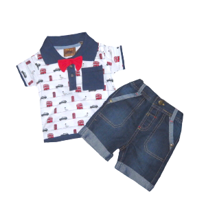 Tricou polo cu papion si blugi Little Gents