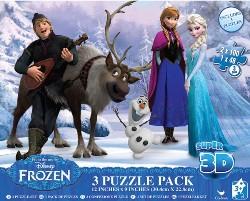 Set 3 jocuri Frozen - Puzzle 3D - 248 de piese
