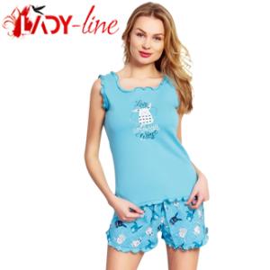 Pijamale Vienetta Secret, Bumbac 100%, 'Love Always Wins' Turquoise