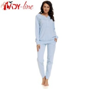 Pijama Dama Maneca/Pantalon Lung, 'Cerulean', DN-Nightwear