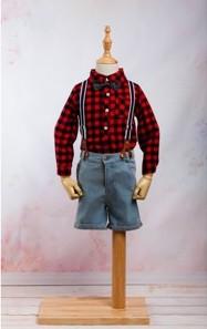 Set / Compleu jeans scurt cu bretele, camasa maneca lunga in carouri si papion pentru baieti