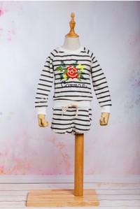 Set / Compleu pantalon scurt si hoodie cu maneca lunga din tricot cu model floral brodat, pentru fete