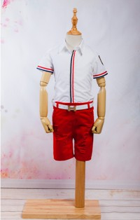 Set / Compleu jeans si curea, camasa maneca scurta pentru baieti