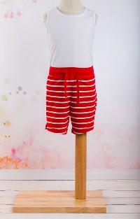 Pantalon scurt rosu cu dungi albe fetite si baieti 2-7 ani din bumbac