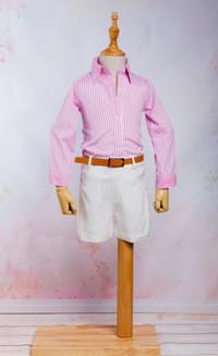Set / Compleu pantalon scurt, curea si camasa eleganta, pentru fete