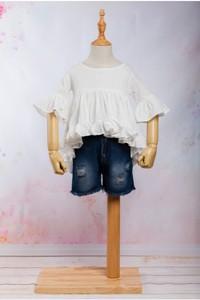 Set / Compleu jeans scurt cu bluzita vaporoasa pentru fete
