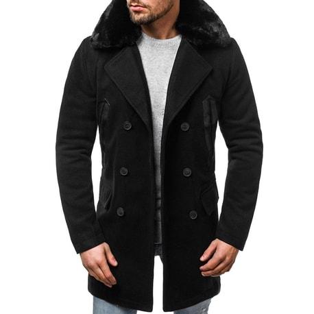 Palton unic barbatesc, culoare neagra OZONEE O/88872