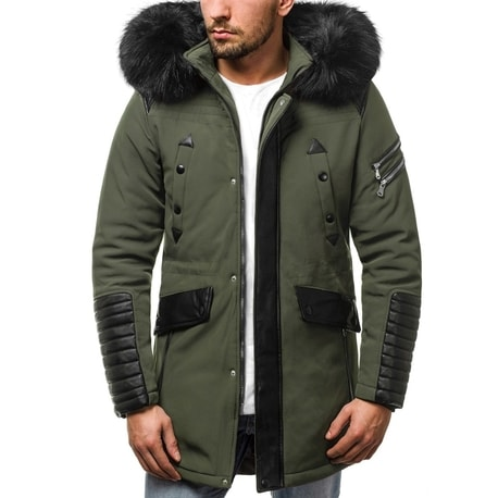 Jacheta stilata barbateasca de iarna, culoare verde OZONEE O/99111