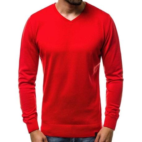 Pulover comod rosu cu design simplu OZONEE B/2390