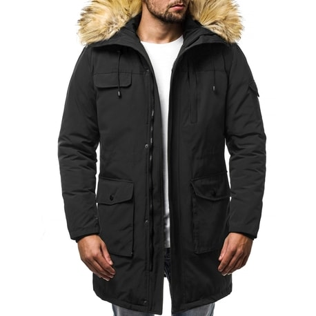 Geaca barbateasca de iarna, culoare neagra OZONEE JS/HS201816