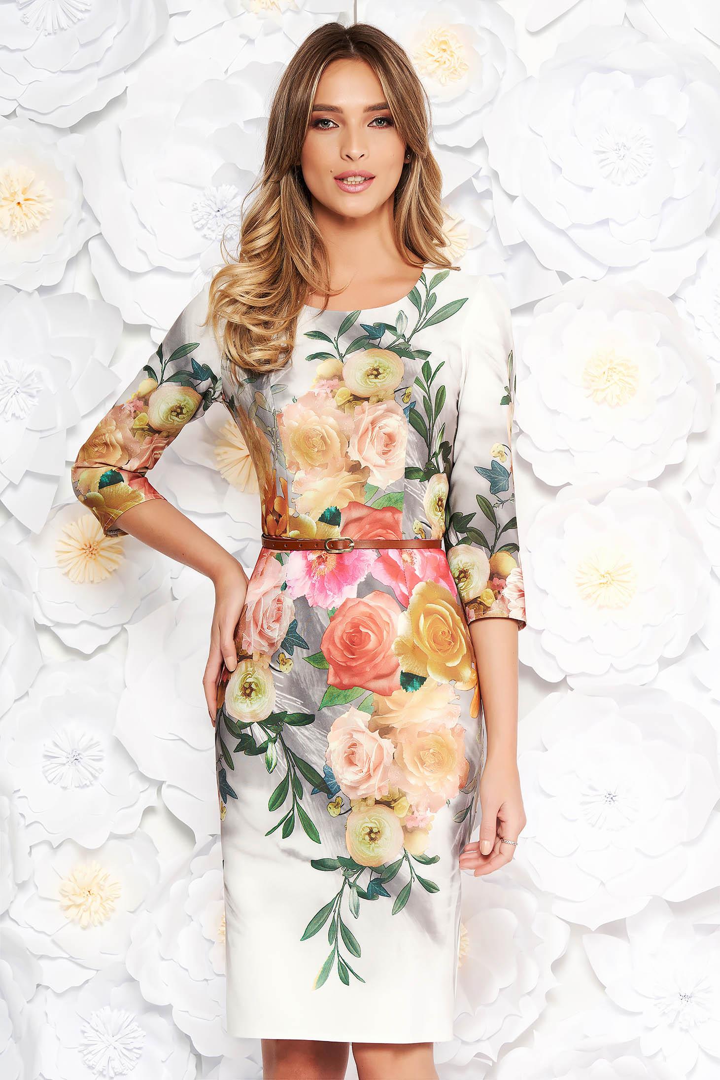 Rochie gri de zi eleganta cu un croi mulat din stofa subtire usor elastica cu imprimeuri florale